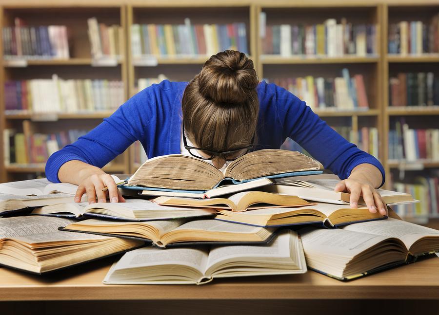 Student studying hard